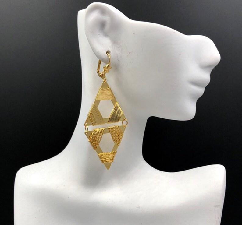 b8db5ae1e Mod Gold Triangle Earrings Dangle Earrings Pierced Earrings | Etsy