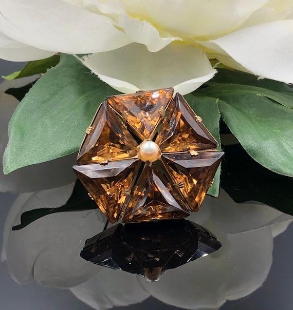 Smoky Topaz Glass Stone Brooch, Hexagon Brooch, Tr