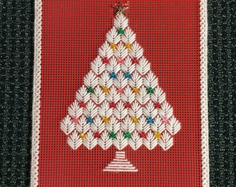 holiday wall hanging christmas tree wall hanging vintage plastic canvas wall art christmas wall art wall hanging 1980s holiday hanging