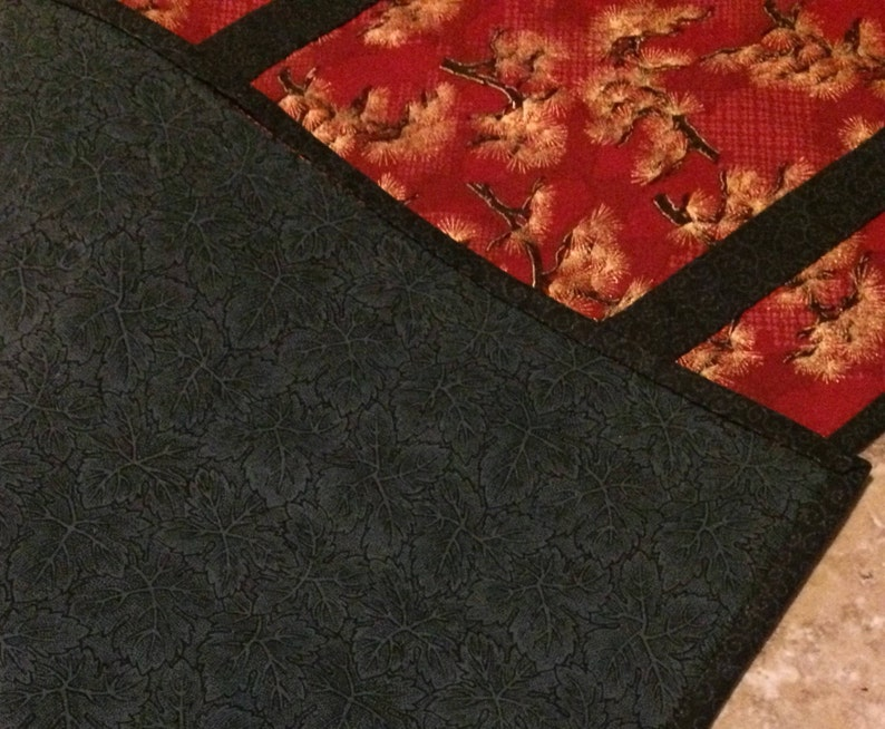 red quilted table runner bonzai tree table runner Asian inspired table runner hand-quilted table runner red and black table runner