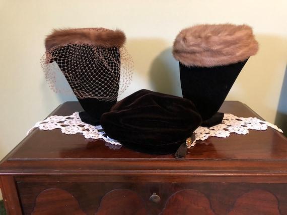 3 - 1960s hats, vintage satin and fur hat, vintag… - image 1