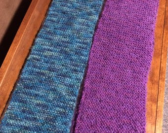 WINTER SALE - 2 knitted winter scarves, purple scarf, teal scarf, pair of knitted scarves, winter scarf, knitted scarf