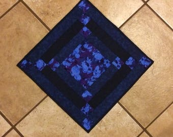 Blue table topper, quilted table runner, blue table runner, quilted wall hanging, blue wall hanging, square table topper, navy blue runner