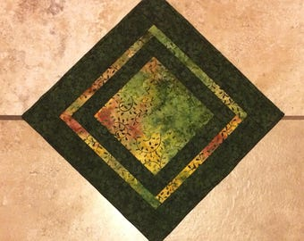 Green table topper, batik table topper,  batik table mat, quilted table topper, green batik table runner, square table topper