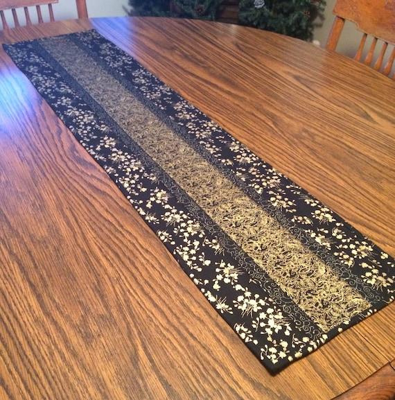 Elegant Table Runner Black And Gold Table Runner Black Table Etsy