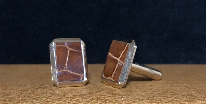 men/'s cuff links 1960s cuff links vintage cuff links Father/'s Day gift gold tone and leather look cuff links gold and brown cufflinks