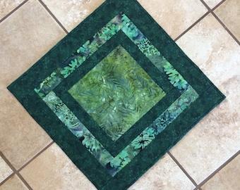 Green batik table topper, green table topper, quilted table topper, green table runner, quilted table runner, square table runner, table mat