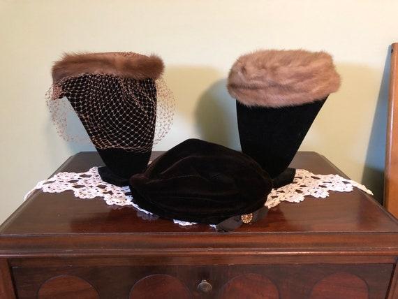 3 - 1960s hats, vintage satin and fur hat, vintag… - image 10