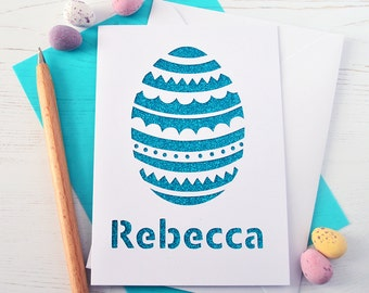 Personalised Easter Egg Glitter Cut Out Card - Easter Card - Kid's Easter Card - Child's Easter Card - Easter Gift