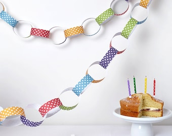 Polka Dot Paper Chain Kit - Party Decorations - Kid's Craft - Colourful Paper Chains - Rainbow Colours