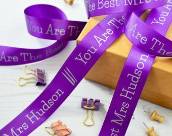 Thank You Teacher 15mm Personalised Printed Ribbon Favourite Teacher Gift Thank You Present for a Teacher Thank You Teacher Gift Wrap