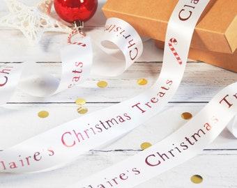 Christmas 38mm Personalised Printed Ribbon