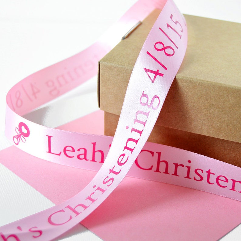 Personalized Ribbon Christening 25mm Personalised Printed Ribbon Christening Gift Wrap Naming Ceremony Present Baptism Gift