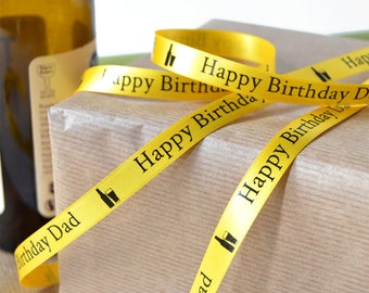 Birthday 10mm Personalised Printed Ribbon - Birthday Gift Wrap - Birthday Ribbon - Celebration ribbon - Personalized Ribbon