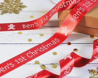 Kid's Christmas 38mm Personalised Printed Ribbon