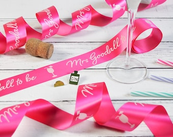 Hen Party 38mm Personalised Printed Ribbon