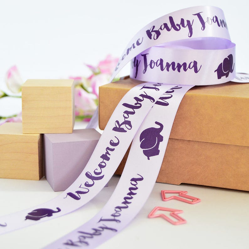 Baby Ribbon New Baby Gift Wrap New Baby 25mm Personalised Printed Ribbon Personalized Ribbon Baby Shower Personalised Baby Gift