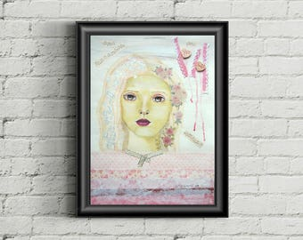 Pink roses lady - original mixed media painting