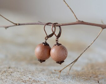 Light brown wood earrings wooden earrings copper earrings wooden jewelry botanical jewelry nature earrings spring jewelry real wood earring