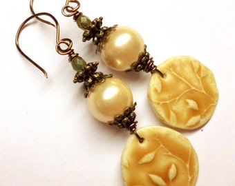 Yellow Earrings Light Brown Polymerclay Earrings South Sea Shell Czech Glass Bronze Wire Wrapped Handmade Jewelry Salakaappi