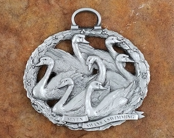 Seven Swans A Swimming Twelve Days of Christmas Pewter Ornament, Day 7 Twelve Days of Christmas Ornaments, Holiday Ornaments, Figurines