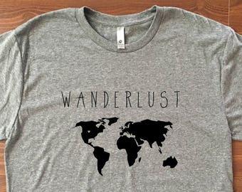 Wanderlust Shirt // Mens triblend tshirt, Graphic tee, Mens shirt, Wanderlust tshirt, Adventure shirt, Gift for him, Travel shirt