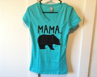 Mama Bear Shirt // Ladies' Junior Fit - Women's V-neck - Mama bear Papa bear - Mama bear tshirt - Mommy and me, Gift for mom, SALE