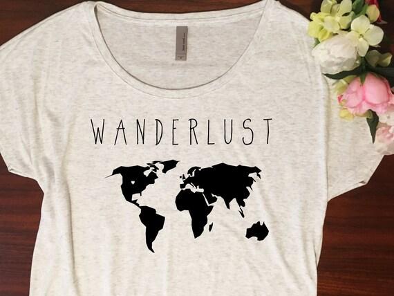 6b3e97b5 Wanderlust Shirt // Dolman slouchy style Wanderlust tshirt | Etsy