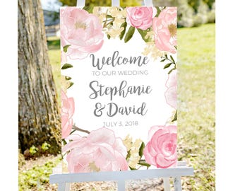 Welcome to wedding sign, PRINTABLE, custom Wedding Sign, floral Wedding Sign, welcome to our Wedding Sign, personalized wedding sign
