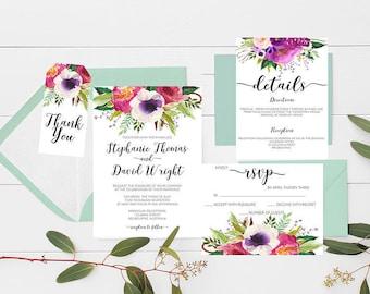 wedding invitations Printable wedding invitations Wedding suite floral wedding invitation suite wedding invitation set Wedding Stationery