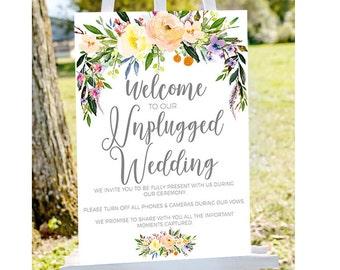 unplugged ceremony Unplugged wedding sign,unplugged sign, no phones sign printable unplugged sign, INSTANT DOWNLOAD, printable wedding sign