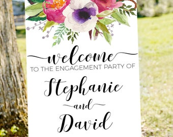 Engagement party welcome sign, welcome to our engagement, engagement welcome sign, engagement sign