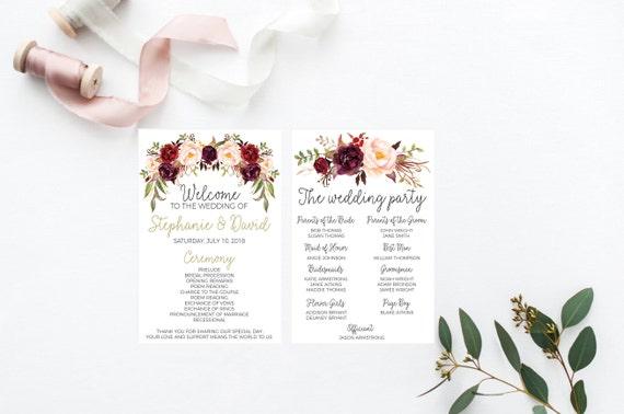 printable wedding program wedding programs wedding program order