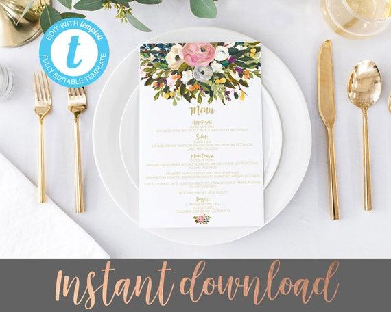 photo regarding Printable Menu Card identify Marriage menus, printable marriage menus, marriage menu, roses