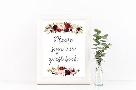 Printable Guest Book Sign Guestbook Sign Wedding Guestbook