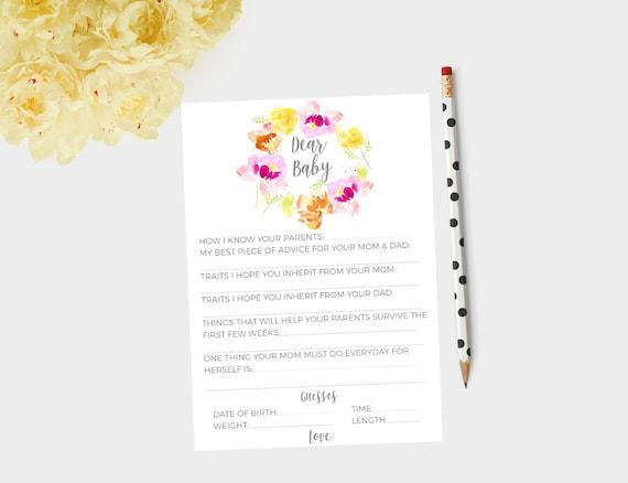 Dear baby cards, baby shower cards, baby shower games, baby