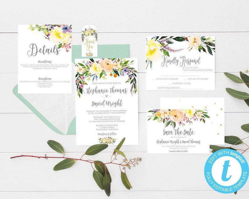 printable wedding invitations floral wedding invitation image 0