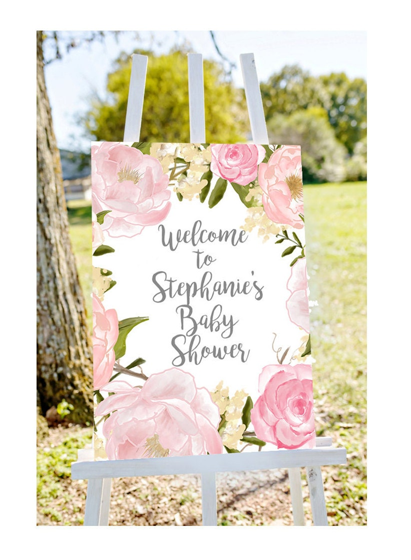 Baby shower welcome sign Welcome to baby shower sign pastel | Etsy