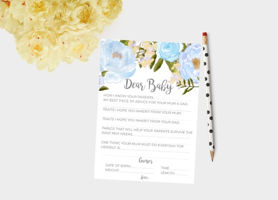 Blue Dear baby cards, Baby boy shower game baby shower cards