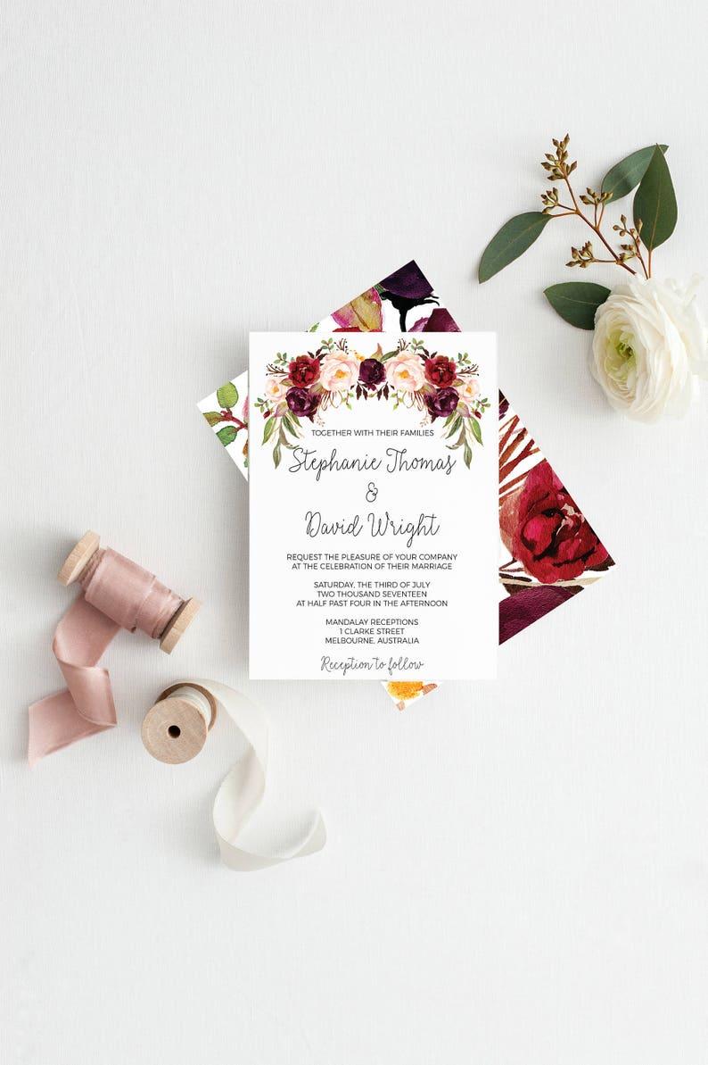wedding invitations Printable wedding invitations Wedding suite marsala wedding invitation suite wedding invitation set Wedding Stationery