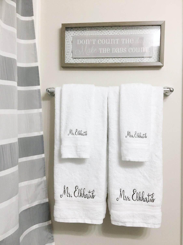 Monogrammed Towel Wedding Gift Newlywed Gift   Etsy
