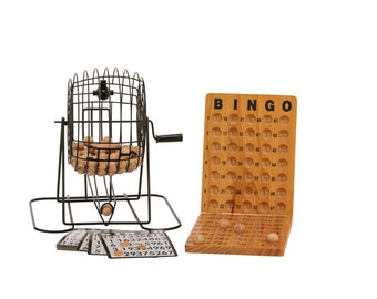 Wooden Bingo with Metal Cage and Wooden Scoreboard