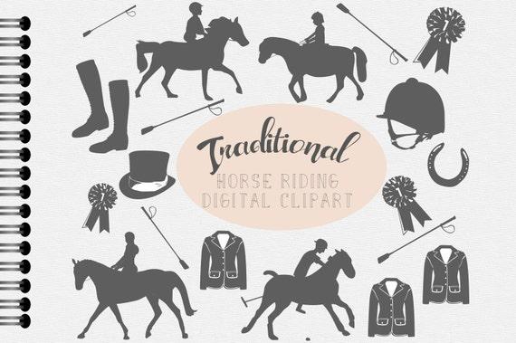 Cheval équitation Digital Clipart, équitation Scrapbooking graphiques, culture équestre de selle poney bottes chevaux traditionnelle casque stable