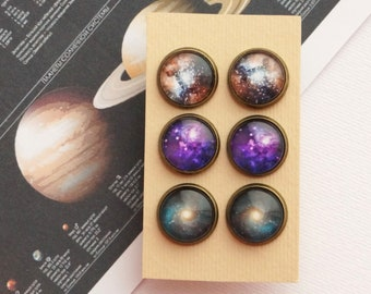 Stud Earrings Set, Galaxy Post Earrings, Set of 3 Pairs Space Earrings Solar System Earring Studs Nebula Universe Cosmic Constellation Studs