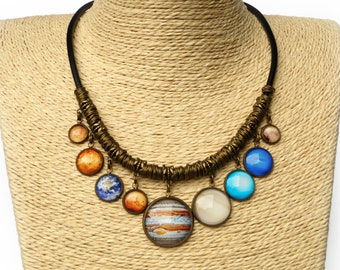 Planet Necklace Solar System Bib Statement Necklace Space Science jewelry Gift for Wife