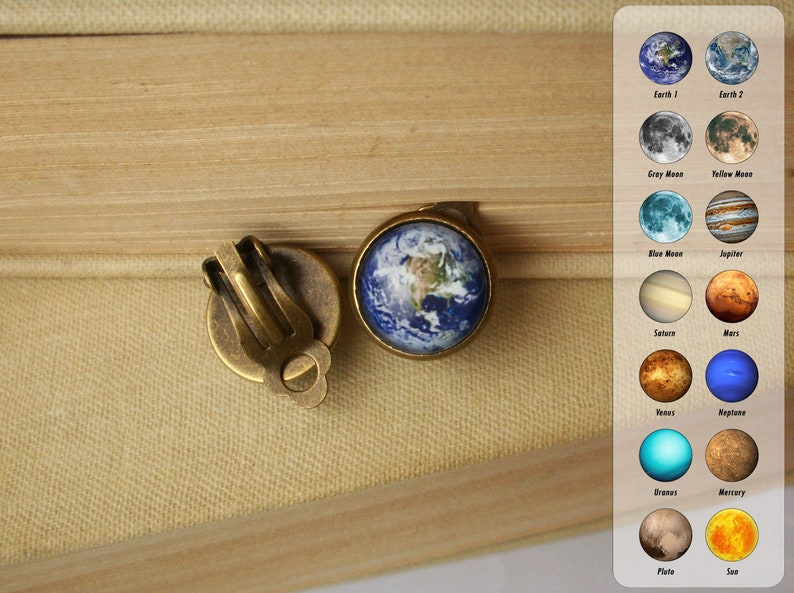 Earth Clip On Earrings Space Jewelry Planet Non Pierced image 0