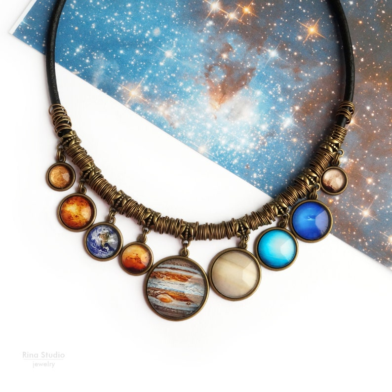 Solar System Bib Necklace with all 9 Planets including Pluto image 0