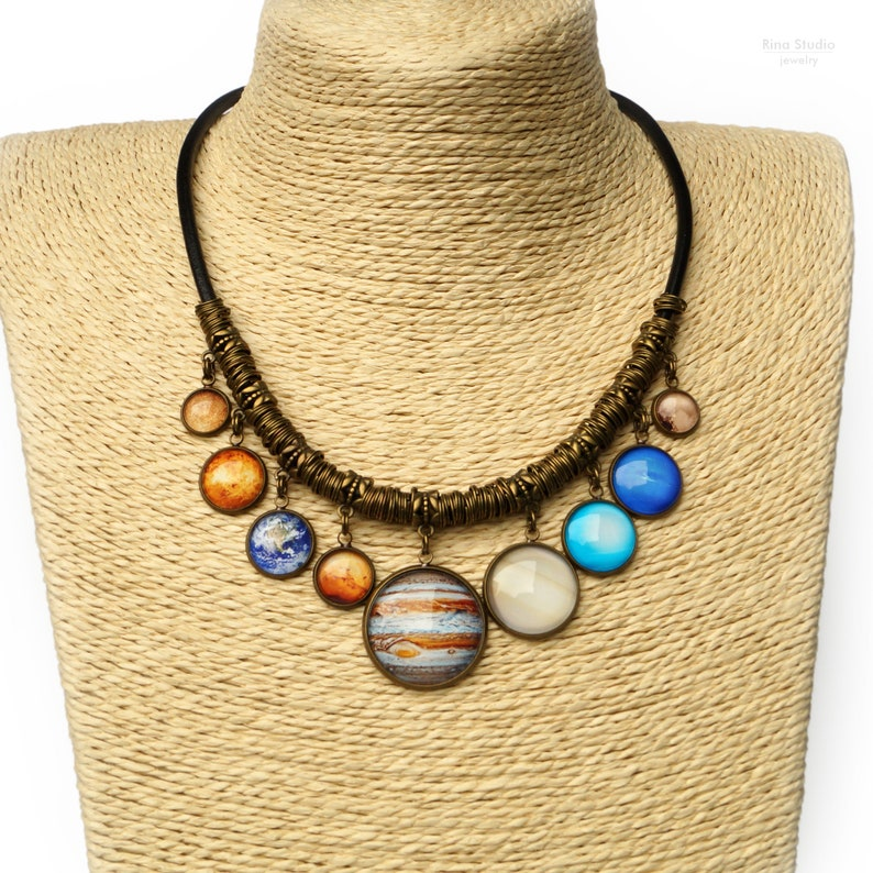 Planet Necklace Solar System Bib Necklace with all 9 Planets image 0