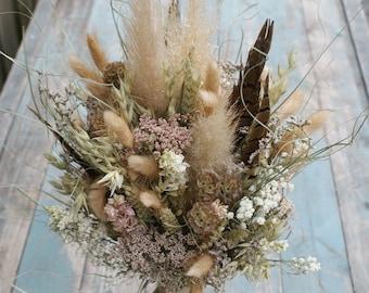Pampas Prairie Blush Dried Flower Wedding Bouquet