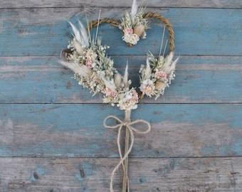 Pampas Prairie Blush Dried Flower Willow Heart Wand